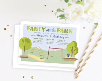 Party at the Park Birthday Party Invitation Digital File, Outdoor Park Birthday Invite, Boys Birthday, Girls Birthday Invite, Print file