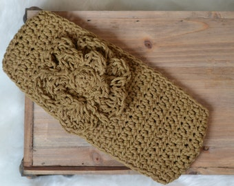 Crochet Amber Brown Ear Warmer Headband with Flower Adult Ready to Ship