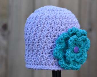 Crocheted Textured Beanie Girl Infant Lavender with Teal Flower Ready to Ship
