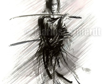 Ronin, Samurai Warrior, Japanese Katana, Samurai Sword, Ink Painting, Abstract Art, Surreal Painting