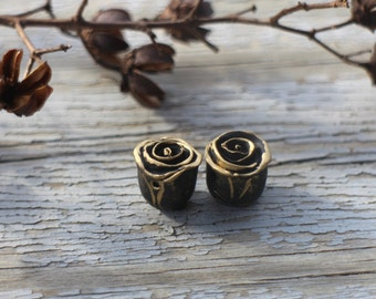Made to order - Pair Black Gold topped Rustic Roses, polymer clay rose bead, stylized folk art rose, black gilt gold color rose art beads