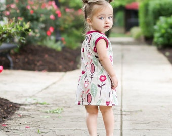 ORGANIC Sleeveless floral dress - Baby girl dress - Toddler dress - Dress with pockets - READY to SHIP