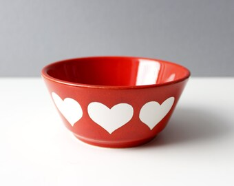 Vintage Waechtersbach Heart Bowl Germany Red White Mid Century Modern