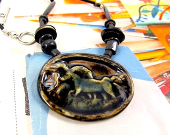 Black Horse Necklace, Bone and Leather Necklace, Ceramic Wild Horse Necklace, Native American Inspired, Spirit Animal Choker, Horse Necklace