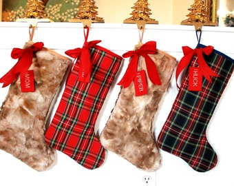 4 Family Christmas Stockings, set of 4, custom stockings, Stockings for the family