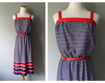 Vintage Sailor Dress Red White & Navy Blue Stripe Dress Nautical Summer Dress Polyester Short Dress Faux Red Leather Belt Size Small Medium