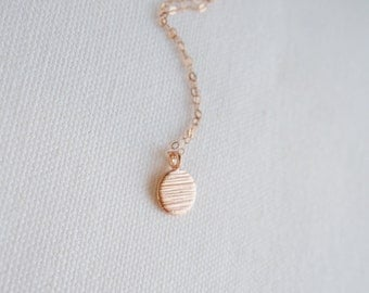 Rose Gold Necklace With Textured Disc, Rose Gold Everyday Necklace