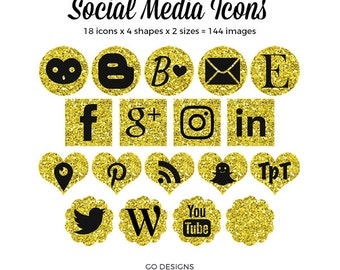 Gold Glitter Social Media Icons   Glittery Gold   Gold and Black   144 Social Icons