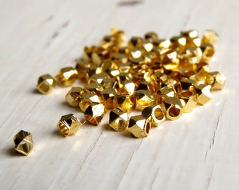 24k Gold-plated brass faceted beads - cornerless cubes (30) 2/2.5 x 2/2.5mm, brass beads, spacer beads, faceted beads