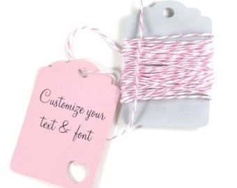 Light Pink Custom Heart Tags Set of 20 - Pink  Favor Tags - Wedding Gift Tags - Pink Bridal Shower Tags - Baby Girl Shower Favors