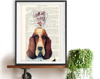 Basset Hound print, stacking teacups, Hush puppy art, Dog Artwork, Basset Hound Art Print, Gift for Him, Red, Office Wall Art, Wall Decor