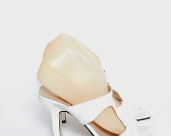 Vintage 90's White Chunky High Heel Sandals