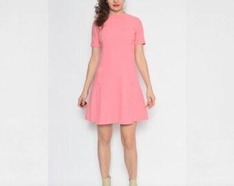 Vintage 70's Pink Wool Mini Dress