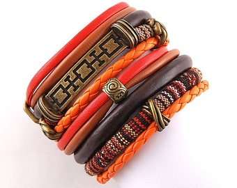 Boho Wrapped bracelet, red,orange,brown comfortable cuff