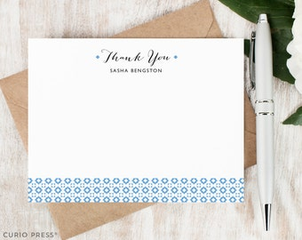 Personalized Notecard Set / Set of Flat Personalized Stationery Note Cards / Custom Monogram Thank You Stationary Notes // GEOBAND THANK YOU