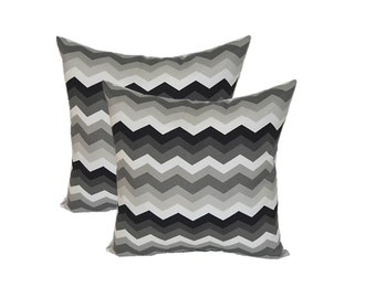 Set of 2 ~ Indoor / Outdoor Black, Gray, Charcoal, White Chevron Decorative Square Throw Pillows ~ Choose Size