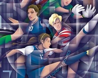Illustration of 2012 U.S. Olympic Women's Soccer Team