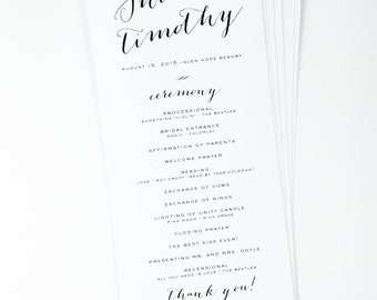 Calligraphy Script Wedding Program, Elegant Printed Wedding Programs, Bombshell