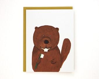 Benny the Beaver - funny animal greeting card / BLK-BEAVER