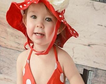 Red Sun Hat- Baby Girl Sun Hat - Baby Floppy Hat - Sun Hat - Baby - Flower Hat - Newborn Sun Hat - Infant Sun Hat - Newborn Sun