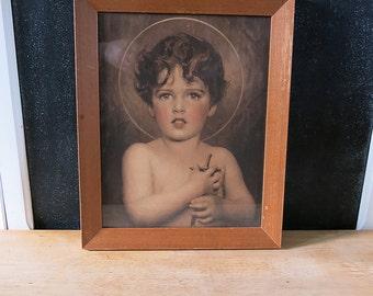 Vintage Saint John the Baptist Print, C Bosseron Chambers, Sepia Tone, Religious Art, Catholic, 1900's