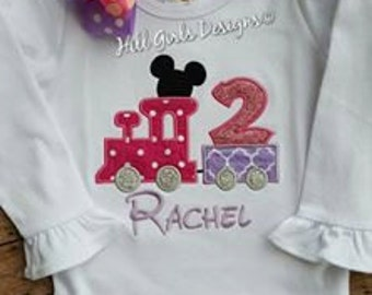 Girl's ruffled Mickey train shirt with name and birthday number