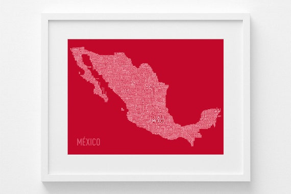 mexikokarte auf spanisch typografische karte mexiko druck. Black Bedroom Furniture Sets. Home Design Ideas