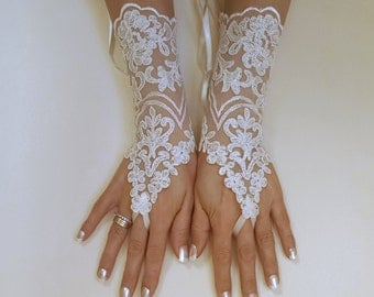 ivory Wedding Gloves, ivory lace gloves, Fingerless Glove, ivory wedding gown, UNIQUE Bridal glove, wedding bride, bridal gloves, 0037