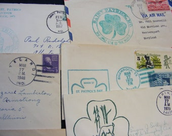 Lot 7 St Patrick Day Stamp Covers, Old Envelopes, Vintage Postage Stamps, Stamps, St Patrick, Ephemera, Shadow Box, Collages, Scrapbooking