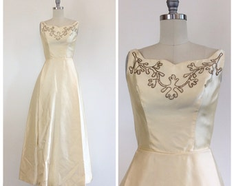 50s Pastel Yellow Satin Prom Dress - 1950s Vintage Floor Length Beaded Evening Gown - Small - Size 2
