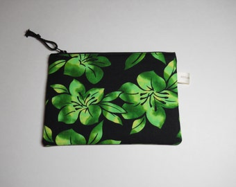 Tropical Zipper Bag / Hawaiian Green Flower Cosmetic Bag / Toiletry Bag / Travel Pouch