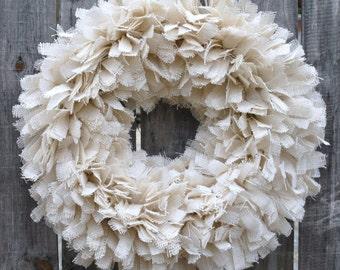 "24"" Burlap Wreath, Spring Wreath, Summer Wreath, Rustic Wedding Wreath, Beach Wreath, 24"" Wreath"