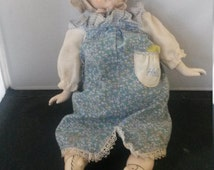 Antique China doll marked 5