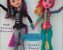 Pixie Faire Fable-ous Finds Mad Bazaar Jacket, Pants, and Top Hat Doll Clothes Pattern for 17 inch Monster High Dolls - PDF