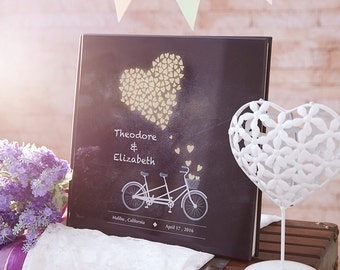 Rustic Wedding Guest Book, Alternative Guestbook, Custom Wedding Guest Book, Tandem Bike Chalkboard Theme, Crystal Acrylic Guestbook-GB#09