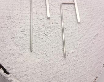 Silver Vertical Bars Earrings Minimalist, Line Earrings, Double bar earrings, Square bar earrings, nickel free simple earrings - MONA silver