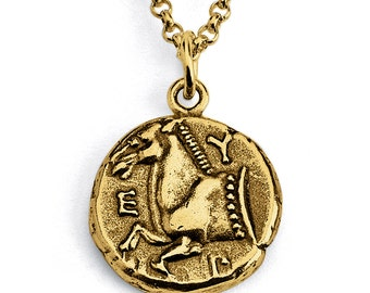 Replica Thrace of Maroneia Ancient COIN Pendant Necklace #14k Gold Plated over 925 Sterling Silver #Azaggi N0440G