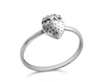 Sweet Strawberry Fruit Stackable Ring #925 Sterling Silver #Azaggi R0533S