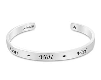 Rhodium Veni Vidi Vici Inspirational Cuff Bracelet #Azaggi B0840S