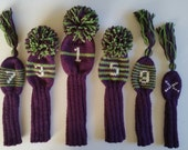 SIX Hand Knit  Custom Retro-Vintage-Look Golf Club Head Covers with pompoms and/or tassels for Drivers, Woods, Hybrids