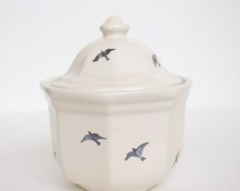 Hand Painted Sugar Jar - Flying Sparrows - Original Painting