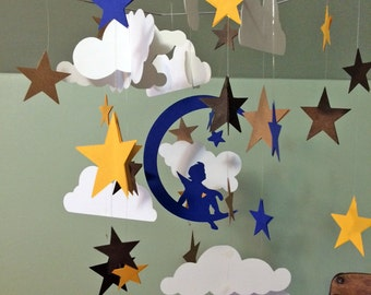 S.O. Paper mobile. Angel on the moon, stars and clouds mobile. Paper Chandelier. Nursery. Baby shower