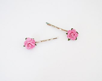 Set of 2 Tiny Pink Rose Bobby Pin - Spring and Summer Hair Accessories, Flower Hair Clip, Rose Bobby Pin, Rose Hair Accessories