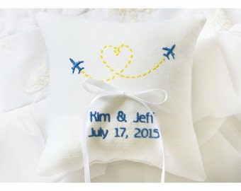 Ring bearer pillow , Planes wedding pillow , wedding ring pillow, Personalized ring bearer pillow, personalized pillow, wedding gift  (R145)