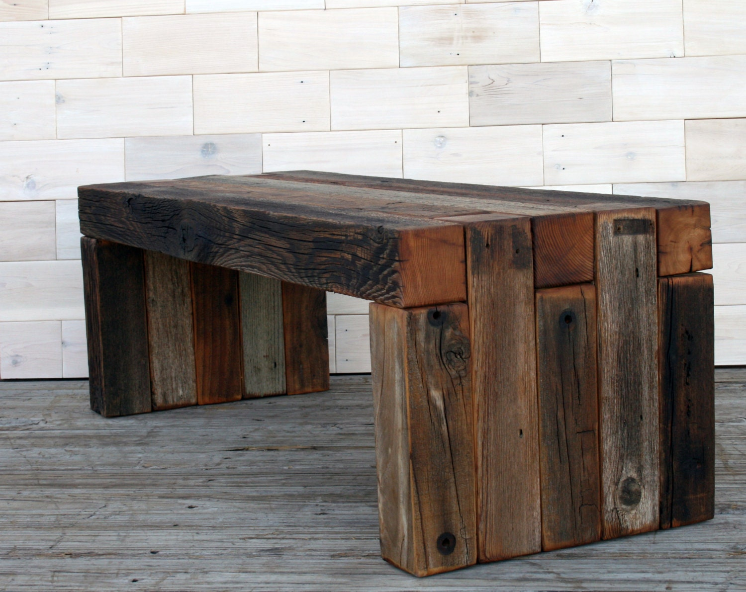 zoom. the Box Joint Bench made from Barn Wood     tags weathered