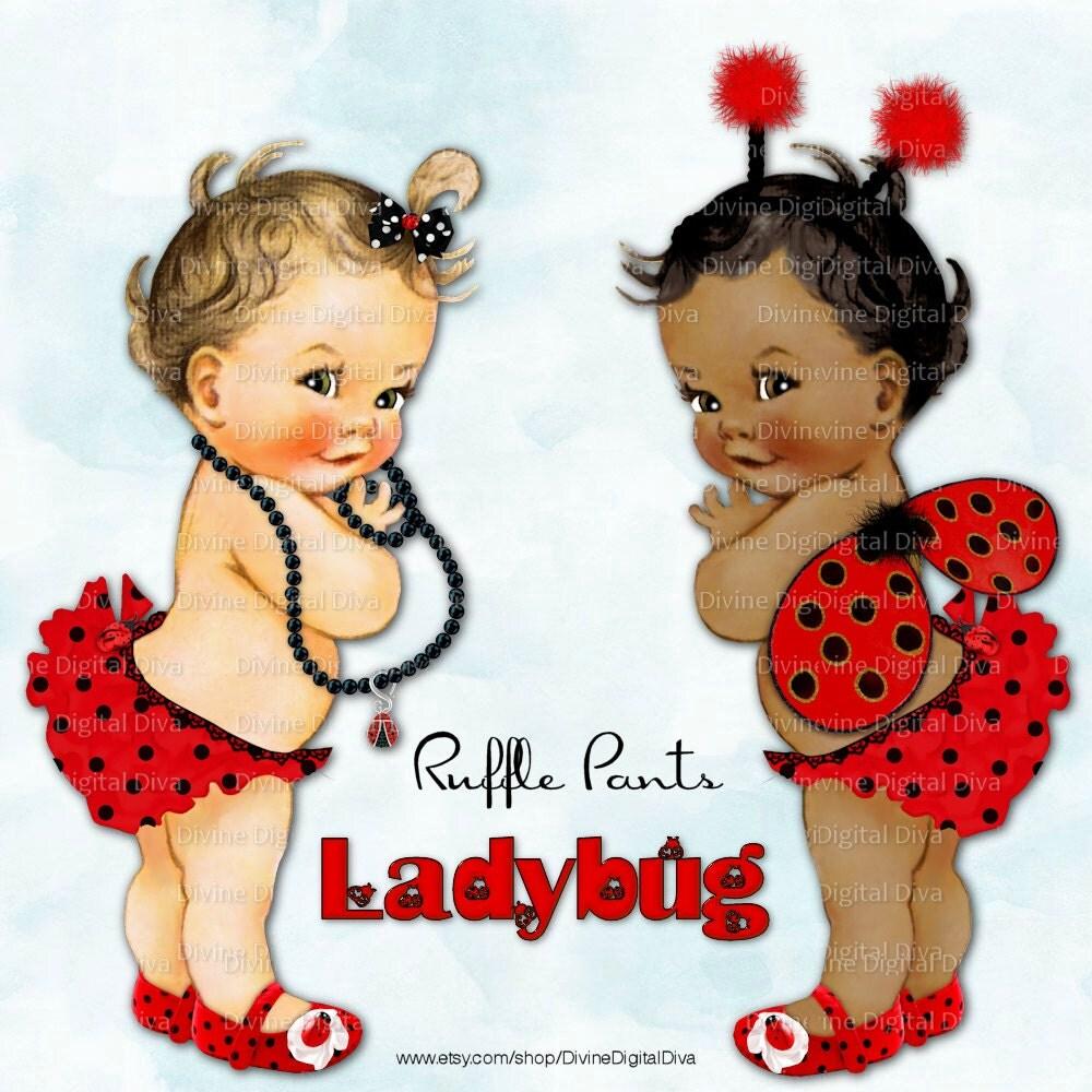 Ladybug Vintage Baby Girl Ruffle Pants Red Black Polka Dots