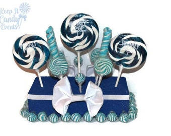 Royal Blue Wedding Centerpiece, Blue Candy Centerpiece, Blue Lollipop Centerpiece,  Royal Blue Wedding Candy, Centerpiece for Candy Buffet