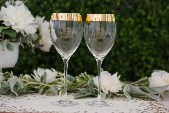 Lenox Wedding Gifts: Lenox Timeless Wide Gold Personalized Wine Glasses Set Of