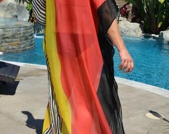 Modern Print Silk Caftan, Womens Silk Kaftan,  Sheer Silk Caftan, Full Length Silk Caftan, Silk Dress, Long Silk Dress