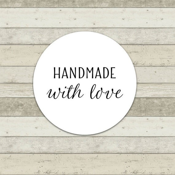 50 Count Handmade with Love Label Shop Sticker Thank